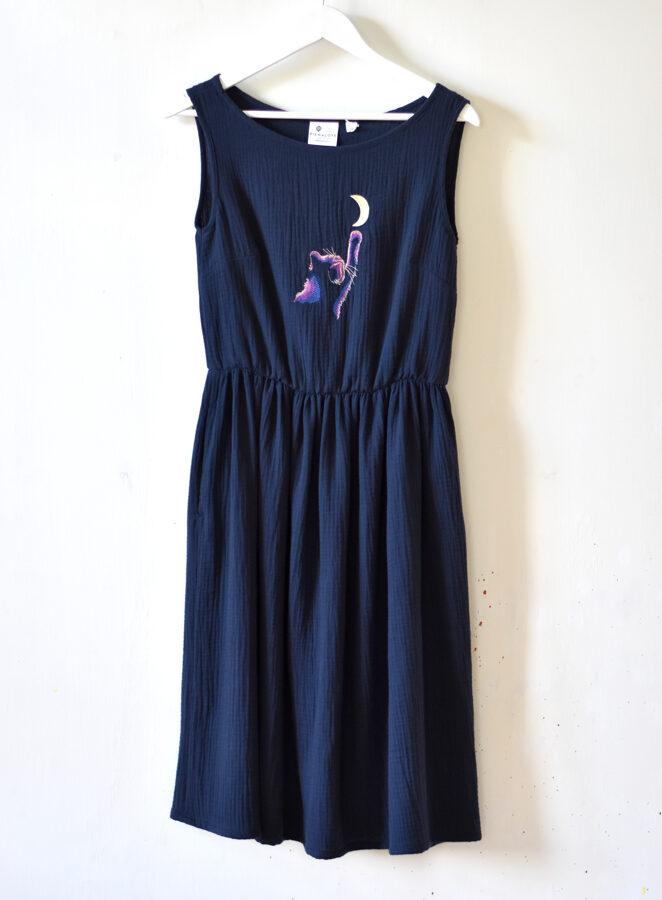 """Muslīna kleita """"MoonCATcher"""", S izmērs"""