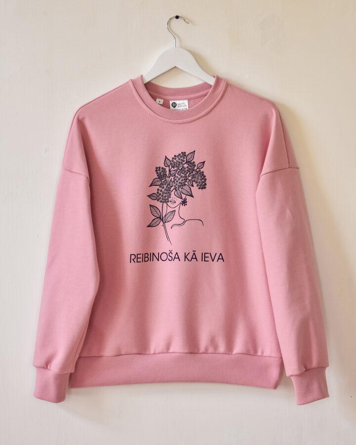 """Sieviešu džemperis """"REIBINOŠA KĀ IEVA"""" - Gaiši Rozā"""