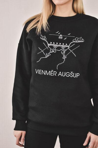 Siltais džemperis VIENMĒR AUGŠUP /unisex/ melns